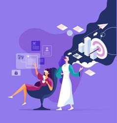 businesswoman wear virtual reality digital vector image