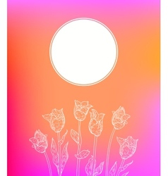 card with hand drawn tulips on pink glow vector image