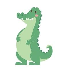 Cartoon green crocodile reptile flat vector