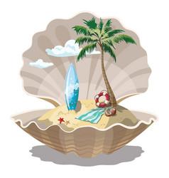cartoon island in seashell for a vector image