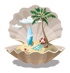cartoon island in the seashell for a vector image