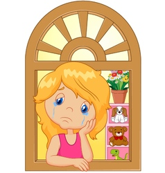 Cartoon little girl cry and watching out the windo vector