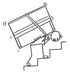 Cartoon of a man carrying a piano up the stairs vector