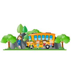 Children and teacher standing by school bus vector
