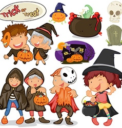 Children dressing up for halloween vector