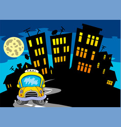 city silhouette with taxi and moon vector image