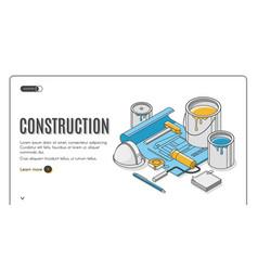 construction plan isometric landing page blueprint vector image