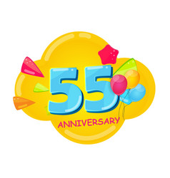 cute cartoon template 55 years anniversary vector image