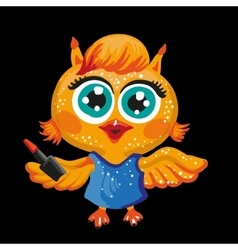 cute owl Cartoon character Make-up artist vector image