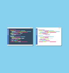 Dark or white theme programming text editor vector