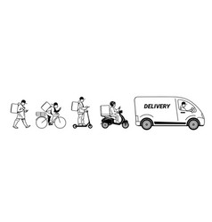 delivery service set couriers walking riding vector image