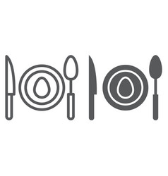 Dinner line and glyph icon food and dishware vector