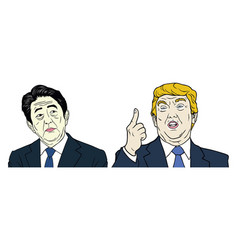 donald trump and shinzo abe portrait flat design vector image