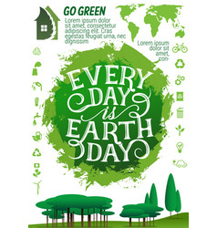 Earth day banner with ecology protection icon vector