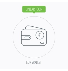 Euro wallet icon EUR cash money bag sign vector image