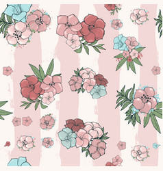 Exotic colorful flowers set vector