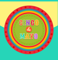 fiesta postcard colorful text circle frame vector image