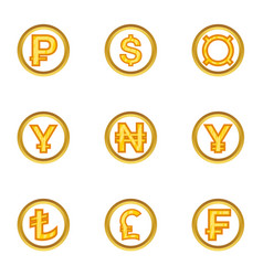 Finance icon set cartoon style vector
