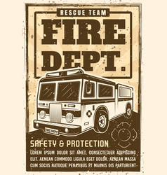 Fire department poster in vintage style with truck vector