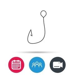Fishing hook icon Fisherman equipment sign vector image