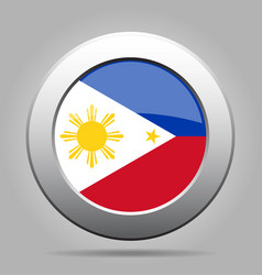 flag of philippines metal gray round button vector image