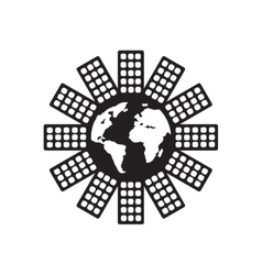 Flat icon in black and white world population vector