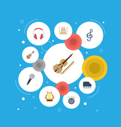 Flat icons lyre octave keyboard knob and other vector