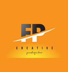 fp f p letter modern logo design with yellow vector image