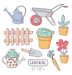 Gardening elements stickers vector