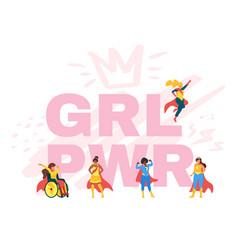 girl power feminist hand drawn poster design vector image
