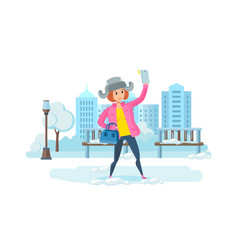 Girl with phone in hand making selfie in park vector