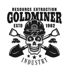 goldminer skull and crossed shovels emblem vector image