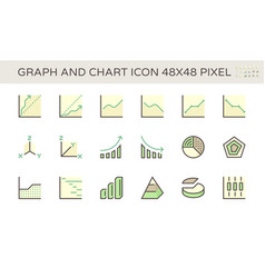Graph and chart icon set design 48x48 pixel vector