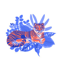 Graphic tiger having a rest among exotic leaves vector