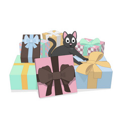 gray cat and a lot of gifts vector image