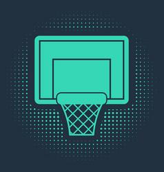 Green basketball backboard icon isolated on blue vector