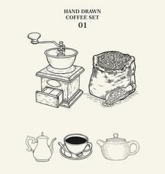 Hand drawn coffee set 01 vector