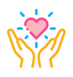 hand hold heart icon outline vector image