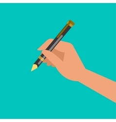Hand holding pen and writing vector image