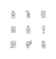 Hand sanitizers linear icons set vector