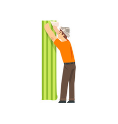 handyman glueing wallpapers male construction vector image