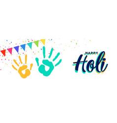 Happy holi hand prints attractive banner design vector