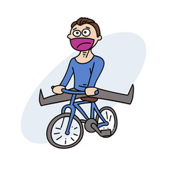 Happy man with bycicle vector