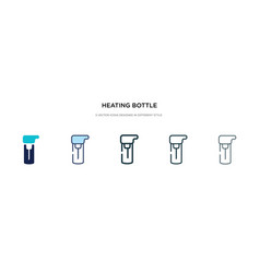 Heating bottle icon in different style two vector