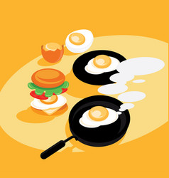 Hot eggs fresh cook vector