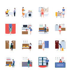 Hotel services and hospitality icons pack vector