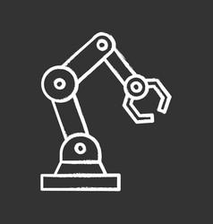 Industrial robotic arm chalk icon vector