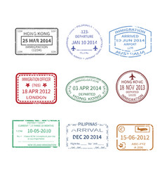 international travel visa stamps set vector image