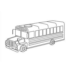 kids school bus outline isometric 3d view grungy vector image