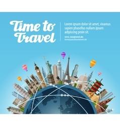 Landmarks on globe travel to world tourism vector